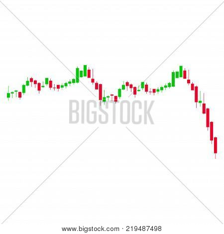 Candlestick Graph Falling Acceleration flat vector pictogram. An isolated illustration on a white background.