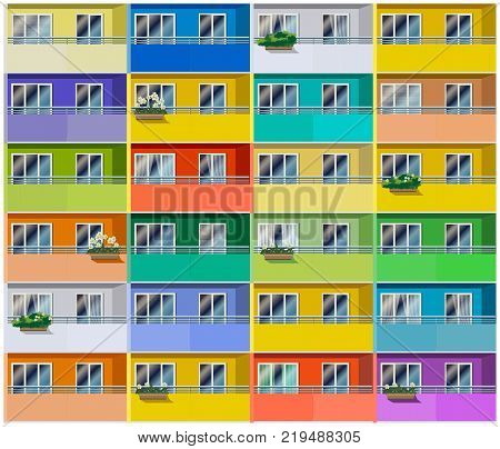 Stylized vector illustration of a colored apartments house. Seamless in all directions if needed