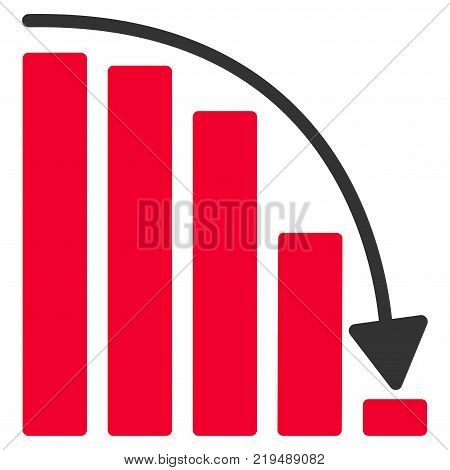 Falling Acceleration Chart flat vector pictograph. An isolated illustration on a white background.