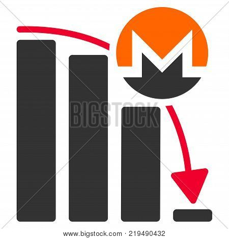 Monero Falling Acceleration Chart flat vector illustration. An isolated illustration on a white background.