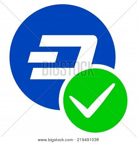 Valid Dashcoin flat vector pictograph. An isolated illustration on a white background.