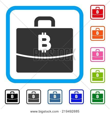 Bitcoin Accounting Case icon. Flat gray pictogram symbol in a blue rounded frame. Black, gray, green, blue, red, orange color versions of Bitcoin Accounting Case vector.