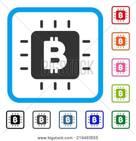 Bitcoin Processor Chip icon. Flat grey pictogram symbol inside a blue rounded squared frame. Black, gray, green, blue, red, orange color additional versions of Bitcoin Processor Chip vector.