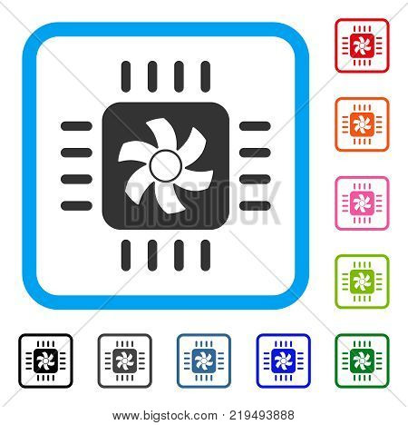 Cpu Cooler icon. Flat gray iconic symbol inside a blue rounded squared frame. Black, gray, green, blue, red, orange color variants of Cpu Cooler vector. Designed for web and app user interface.