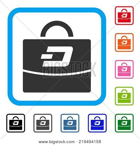 Dash Accounting Case icon. Flat gray iconic symbol inside a blue rounded squared frame. Black, gray, green, blue, red, orange color versions of Dash Accounting Case vector.