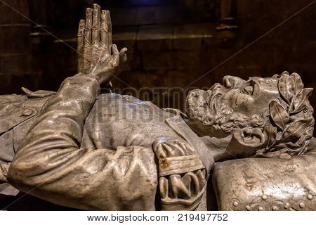 Lisbon Portugal August 6 2017: Tomb of the 16th century poet Luis Vaz de Camoens in the Jeronimos Monastery. Camoens is considered Portugal's and the Portuguese language's greatest poet.