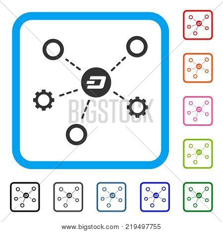 Dash Network Structure icon. Flat grey pictogram symbol in a blue rounded rectangular frame. Black, gray, green, blue, red, orange color additional versions of Dash Network Structure vector.