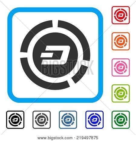 Dash Pie Chart icon. Flat gray pictogram symbol in a blue rounded frame. Black, gray, green, blue, red, orange color versions of Dash Pie Chart vector. Designed for web and software interfaces.