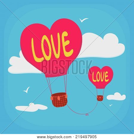Valentine's Day greeting card. Balloons in the form of a heart with the inscription love are tied to each other by the thread of fate.