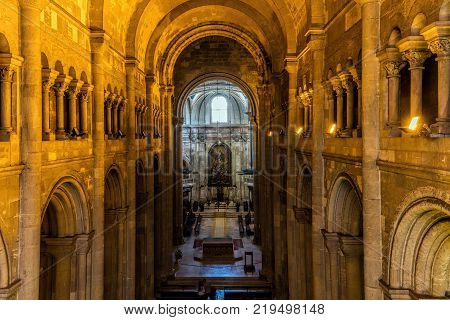 Lisbon Portugal August 7 2017: Interior of the Lisbon Cathedral originated in the 12th century classified as a National Monument since 1910.