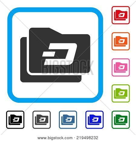 Dash Purse icon. Flat gray pictogram symbol inside a blue rounded square. Black, gray, green, blue, red, orange color versions of Dash Purse vector. Designed for web and software UI.