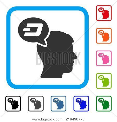 Dash Thinking Balloon icon. Flat gray pictogram symbol inside a blue rounded squared frame. Black, gray, green, blue, red, orange color versions of Dash Thinking Balloon vector.