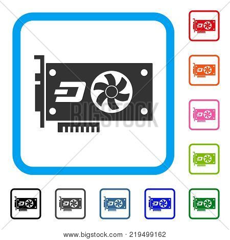 Dash Video Gpu Card icon. Flat gray pictogram symbol inside a blue rounded rectangle. Black, gray, green, blue, red, orange color versions of Dash Video Gpu Card vector.
