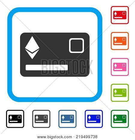 Ethereum Credit Card icon. Flat gray pictogram symbol in a blue rounded frame. Black, gray, green, blue, red, orange color additional versions of Ethereum Credit Card vector.