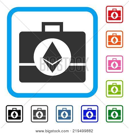 Ethereum Crystal Case icon. Flat gray iconic symbol in a blue rounded squared frame. Black, gray, green, blue, red, orange color versions of Ethereum Crystal Case vector.