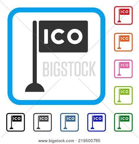 Ico Rectangle Flag icon. Flat grey pictogram symbol inside a blue rounded rectangular frame. Black, gray, green, blue, red, orange color variants of Ico Rectangle Flag vector.