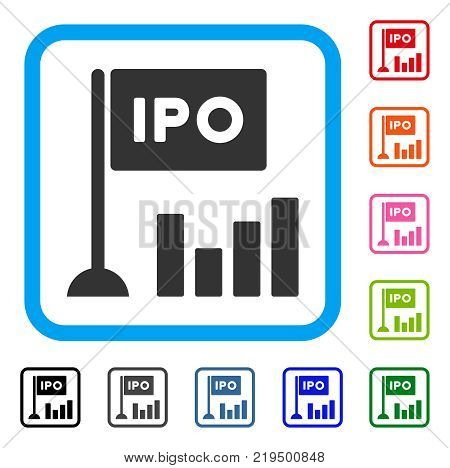 Ipo Bar Chart icon. Flat grey pictogram symbol in a blue rounded square. Black, gray, green, blue, red, orange color versions of Ipo Bar Chart vector. Designed for web and application UI.