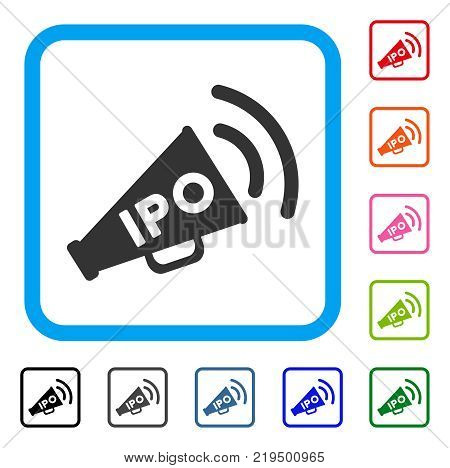 Ipo News Megaphone icon. Flat grey iconic symbol in a blue rounded square. Black, gray, green, blue, red, orange color additional versions of Ipo News Megaphone vector.