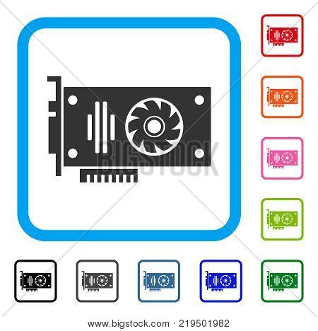 Video Gpu Card icon. Flat gray iconic symbol inside a blue rounded rectangular frame. Black, gray, green, blue, red, orange color versions of Video Gpu Card vector.