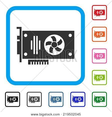 Videocard icon. Flat gray pictogram symbol in a blue rounded rectangle. Black, gray, green, blue, red, orange color additional versions of Videocard vector. Designed for web and software interfaces.