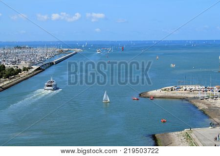 Old harbour of La Rochelle, the French city and seaport located on the Bay of Biscay