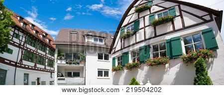 Ulm, Germany - June 17, 2016: a house in the German style half-timbered