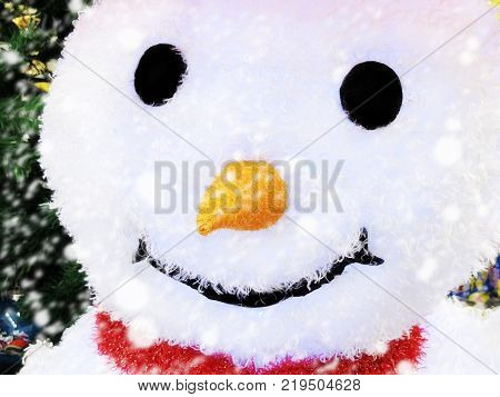 Happy Cute Snowman. Christmas and New Year. Christmas Gift Tag, Merry Christmas! Cheerful Christmas Toy Snowman