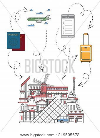 Time to travel infographics with famous french architectural attractions, travel bag, passport, plane, smartphone in linear style. Online tickets ordering, europian tour advertising vector background.