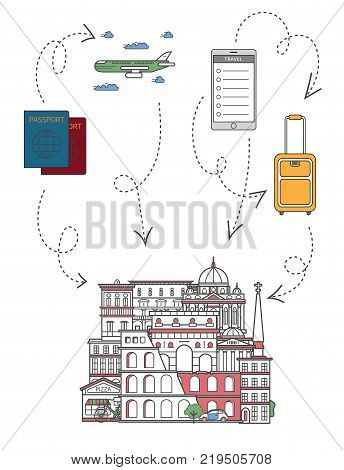 Welcome to Rome poster with famous italian architectural attractions, travel bag, passport, plane and smartphone in linear style. Online tickets ordering, europian tour advertising vector background.