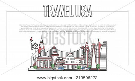 USA landmark panorama with famous modern and ancient architecture in trendy linear style. American national landmarks on white background. Worldwide traveling and journey vector concept.
