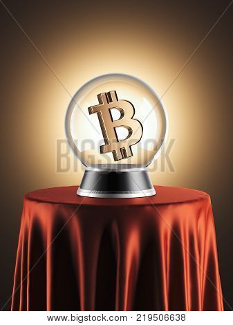Sphere of predictions with bitcoin symbol inside on the red table. 3d rendering