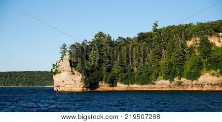 Miners Castle rock formation at Pictured Rocks National Lakeshore in Michigan's Upper Peninsula