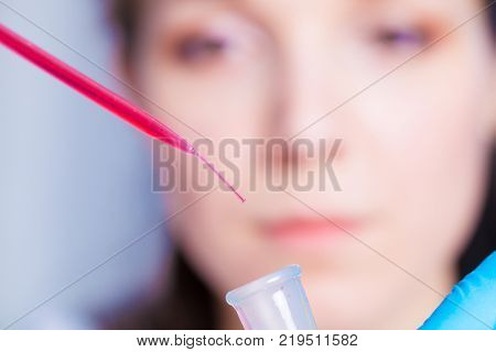 Female laboratory technician To do blood test in medical laboratory