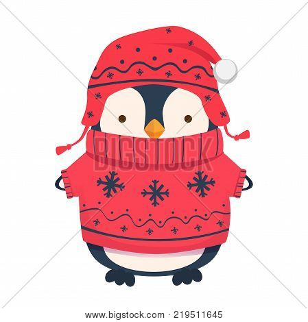 Penguin cartoon illustration. Warm clothes. Penguin in hat and sweater