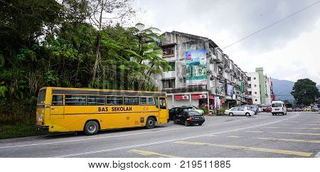 Cameron Highlands Malaysia - Aug 22 2014. A bus on street in Cameron Highlands Malaysia. The Cameron Highlands is Malaysia most extensive hill station in Pahang state.