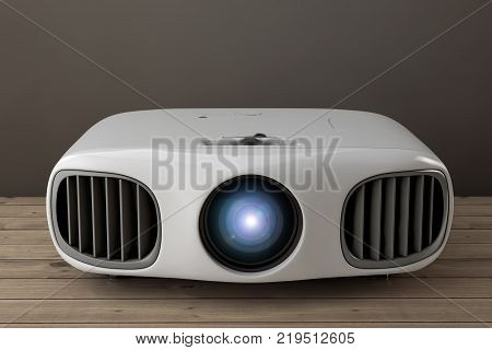 Home Cinema Entertainment Full HD Projector on a wooden table. 3d Rendering