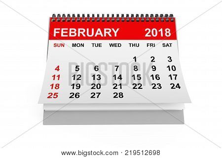 2018 year calendar. February calendar on a white background. 3d rendering