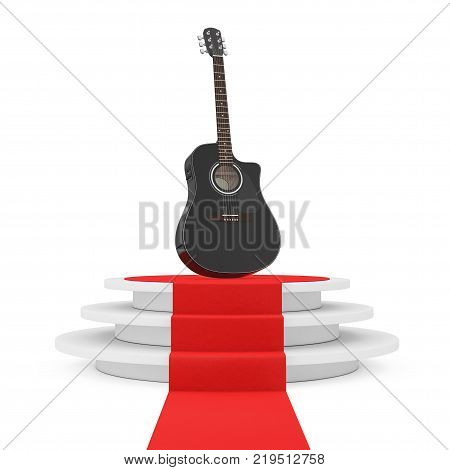 Black Wooden Acoustic Guitar over Round White Pedestal with Steps and a Red Carpet on a white background. 3d Rendering