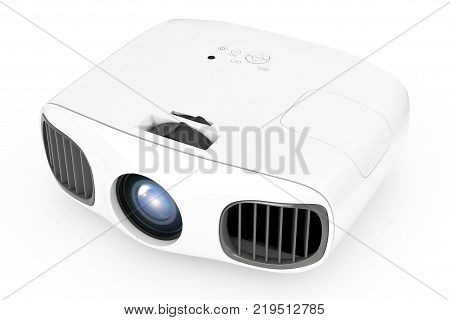 Home Cinema Entertainment Full HD Projector on a white background. 3d Rendering