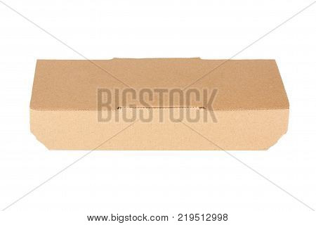 Brown Cardboard Fast Food Box Packaging For Lunch Chinese Food Box with Copy Space for Your Design on a white background