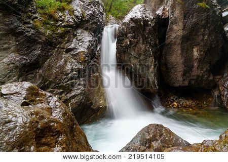 First Waterfall On Kyngyrga River. Arshan. Russia