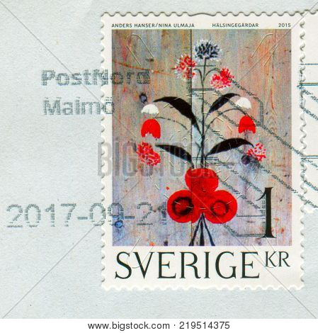 GOMEL, BELARUS, 6 DECEMBER 2017, Stamp printed in Sweden shows image of the Flowers, circa 2015.