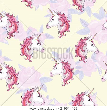 Unicorn and rainbow seamless pattern isolated on white background, animal, wand, princess, balloon, cloud, crown, diamond, fairytale, hand, drawn, abstract, card character decor doodle lovely magical sweet head horn beautiful