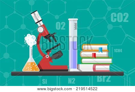 Laboratory equipment, jars, beakers, flasks, microscope and pile of books. Biology science education medical. Vector illustration in flat style