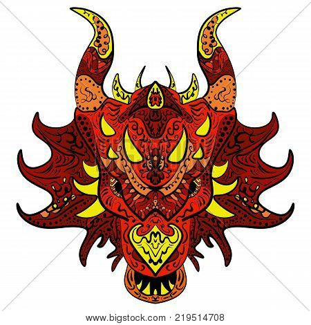 Patterned head of the dragon Colored hand drawn doodle animal. Ethnic patterned vector zentangle design.