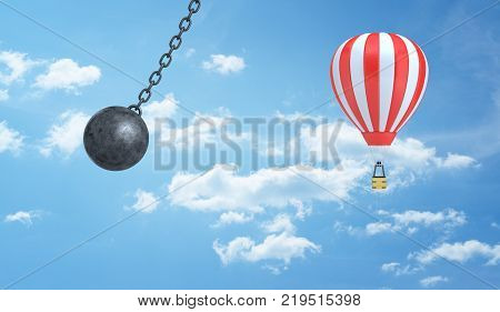 3d rendering of a giant wrecking ball dangerously swings near a striped hot air balloon on a clouded sky background. Dangerous travel. Safety in journey. Insurance business pitfalls.