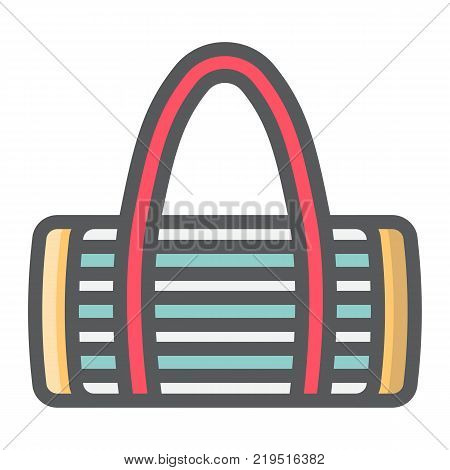 Fitness bag filled outline icon, fitness and sport, sport bag sign vector graphics, a colorful line pattern on a white background, eps 10.
