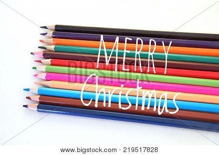 Colorful color pencil in the concept of Merry Cristmas
