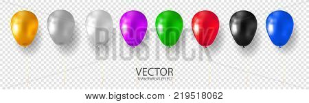Golden, Silver, White, Grey, Purple, Blue, Cyan Red, Green, Black multicolored glossy  balloon set realistic vector stock illustration on transparent background. 3D shine balloon for Birthday party.