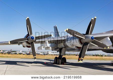 ENGELS RUSSIA - AUGUST 19 2017: Air Fleet Day. Air propeller